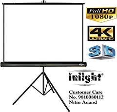 Inlight Cineview 120 Inch Diagonal Universal Projector Screen with Stand, 8 Ft. x 6 Ft., UHD-3D-4K Ready, 4:3 Format(White)