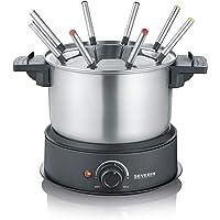SEVERIN FO 2470 Fondue électrique en acier inoxydable pour fondue au fromage, au chocolat ou à l'huile Noir