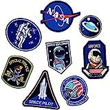 Toppe termoadesive con motivo astronauta e bandiera, varie dimensioni, decorazione da cucire fai da te per jeans, giacche, ab