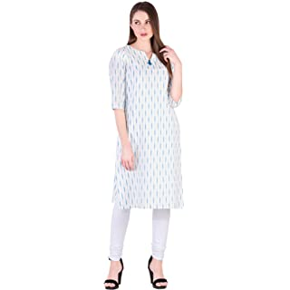 Amayra Women Cotton Straight Kurti White