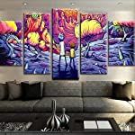 ZDLYY 5 canvas paintings,Wall art,home decoration Canvas picture for living room home decor frame 5 pieces Rick and Morty...