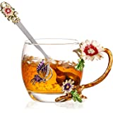 Tasse à Thé de Fleur de Papillon, Tasses à Café en Verre 3D avec Idée de Cuillère pour L'anniversaire de la Fête des Mères Sa