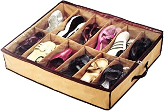 Luvina 12 Pairs Shoes Storage Bag Under Bed Storage Bag with Transparent Cover Organiser