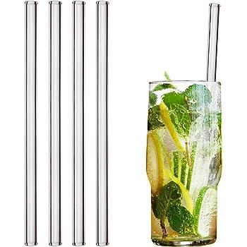 HALM Glas Strohhalme Wiederverwendbar Trinkhalm - 4 Stück gerade 20 cm + plastikfreie Reinigungsbürste - Spülmaschinenfest - Nachhaltig - Glastrinkhalme Glasstrohhalme für Long-Drinks, Smoothies, Saft