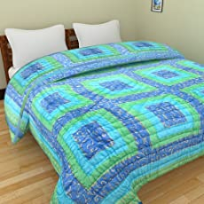 GRJ INDIA Jaipuri Light Weight Pure Cotton Rajasthani Print Reversible Double Bed Quilt (Light Blue)