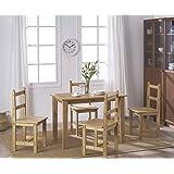 Ensemble Table + 4 Chaises en Pin Massif pour Salle à Manger, Cuisine, Séjour, Café