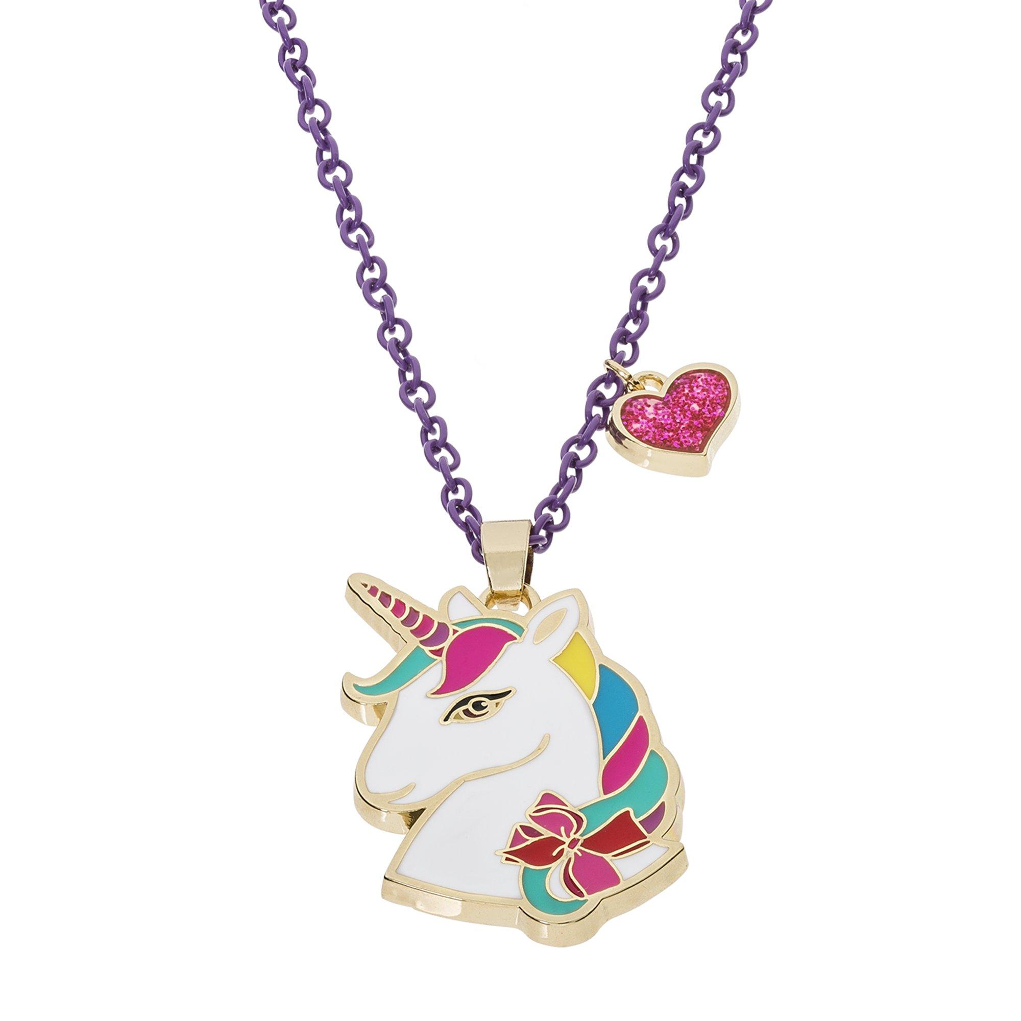 Jojo Siwa Unicorn With Heart Charm Pendant Necklace, 16″+3″