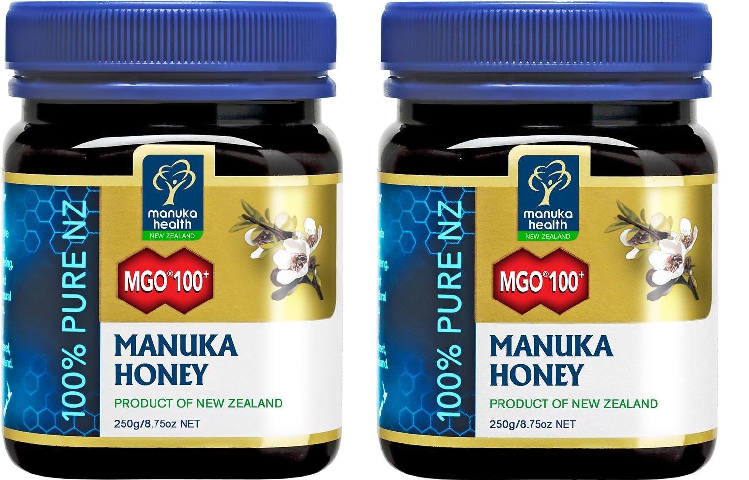 MANUKA HEALTH - MIELE DI MANUKA MGO100+ 2 CONFEZIONI DA 250 GRAMMI antibatterico, per mal di gola e