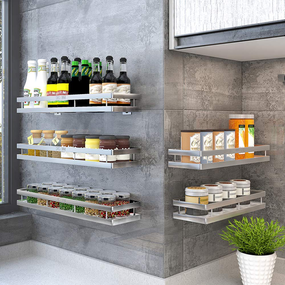 portaspezie -304 Mensola Portaoggetti Multifunzione A Parete in Acciaio  Inox per Cucina, Bagno, Balcone
