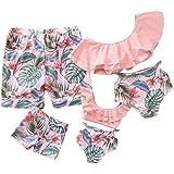 Yaffi Traje de baño a Juego con Volantes Conjunto de Bikini de Dos Piezas Traje de baño Tropical Estampado Mamá y yo Ropa de