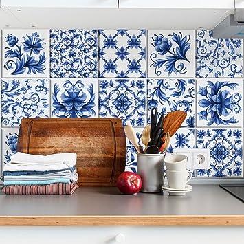 carrelage adhsif x cm ps bleu arabesque adhsive dcorative carreaux pour salle de bains et. Black Bedroom Furniture Sets. Home Design Ideas