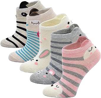 Cotone Calzini per Bambina, Calzini Corti Bambina Calze Novità Animale Cartone Animato Calze alla Caviglia per Ragazze, 2-11 Anni, 5 Paia