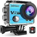 JEEMAK Action Cam WiFi Sports Cam 4K Camera mit 2.4G Fernbedienung 16MP Ultra Full HD Helmkamera wasserdicht mit 2 verbesserten Batterien und kostenlose Accessoires (Blau)