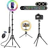 Aro de Luz LED con 2 Trípode, 10'' Anillo de Luz 15 Colores RGB, Regulable Ring Light con Soportes para Teléfono, Control Rem