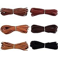 Shappy 3 mm x 5 m Cordon en Cuir Cordon pour Bracelet Collier Beading Bijoux Bricolage Artisanat à la Main, 6 Pièces, 6…