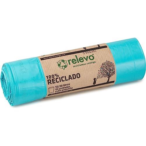 Relevo 22CREL009 Sacchi Spazzatura 100% riciclati, 20 litri, 15 unità