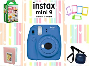 Fujifilm Instax Mini 9 Joy Box with Instant Camera + Twin Film Pack + Carry Case + Photo Frames & Albums - Cobalt Blue