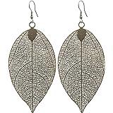 2LIVEfor - Orecchini lunghi a forma di foglia astratta, a goccia, colore: nero e grigio, in oro rosa e argento