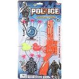 لعبة بندقية شرطة للتصويب مع طلقات نشان لاصقة ولوحة نشان ومجسمات بط ملون - برتقالي