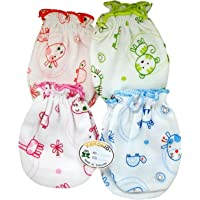 Kezle™ New Born Baby Cotton Mittens [ Pair of 4] 0 to 9 Months - (Multicolour)