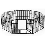 Homcom Parc enclos modulable Acier 8 Panneaux et 1 Porte pour Chiens 80L x 60H cm Noir
