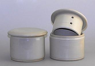 original französische wassergekühlte keramik butterdose, 250 gr butter creme weiß Z-G