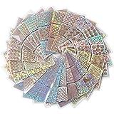 FOK 24Pcs Nail Art Self-Adhesive Stencil Stickers Set Waterproof Salon Nail Stamping Printing Image Stamps Guides…