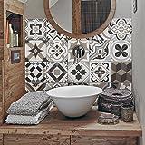 24 Pcs Carrelage adhésif 10x10 cm PS00089 Mosaïque de Azulejos Autocollant mural Adhésive décorative à Carreaux de ciment pou