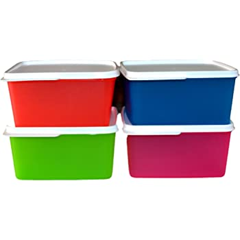 Tupperware Keep Tab Plastic Container Set, 1.2  Litres, Set of 4, Multicolour