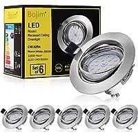 Bojim Lot de 6 spots encastrables GU10 Blanc chaud 2800 K Oeil de bœuf LED 6 W Équivalent à incandescence 54 W avec…