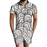 XIOUOUSD Mens Zipper Romper Jumpsuit 3D Printed One Piece Outfits Tracksuit Beach Hawaiian Overall with Pocket