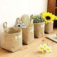 Amatt Lot de 4 sacs de rangement à suspendre, en coton et lin, panier de rangement pliable avec poignée pour jouets…