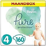 Pampers Maat 4 Luiers (9-14 kg), Pure Protection, 160 Stuks, MAANDBOX, Met Hoogwaardig Katoen en Plantaardige Materialen