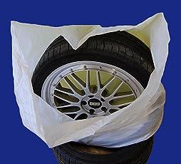 SW-Trade Germany Reifentaschen Set 4-teilig passend für alle Reifentypen bis 22 Zoll - Reifentüten - Reifensäcke - Reifen Schutz - Reifensack - Reifenschutzhülle - biologisch Abbaubar