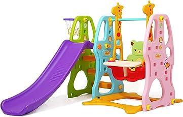 Clamaro 'Crazy Zoo 3in1' Garten Spielplatz Schaukel mit Rutsche und Basketballkorb Kombination, Schaukelsitz mit Gestell, Rückenlehne, Anschnallgurt und Rausfallschutz Bügel mit Tablett (entfernbar)