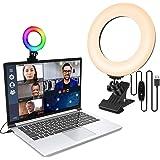 LAVKOW Videokonferensbelysning med klämma för mobiltelefoner dimbar LED-makeup ljus för Live Stream/YouTube/TikTok/fotografer