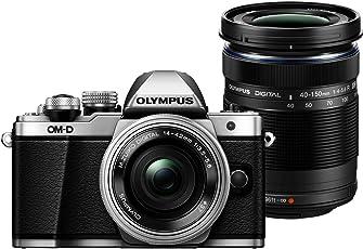 Olympus OM-D E-M10 Mark II Systemkamera (16 Megapixel, elektronischer Sucher mit 2,36 Mio. OLED, WLAN, Metallgehäuse) Kit silber inkl. 14-42mm Objektiv silber + M.Zuiko Digital ED 40-150 mm Objektiv
