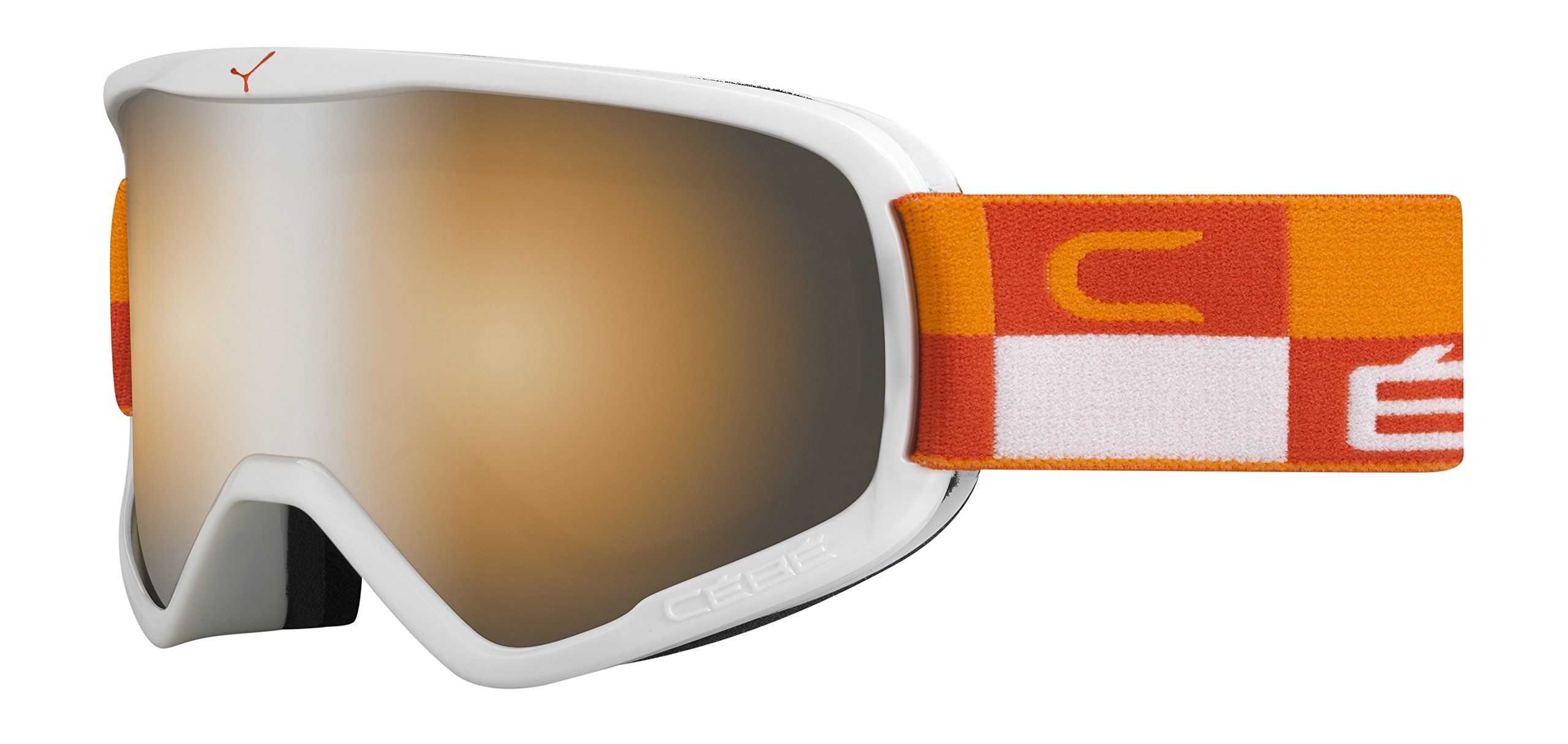 Cébé Skibrille Striker Chequered Flash Mirror, Weiß/Orange, L, CBG51
