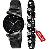 Acnos 4 Colors Magnet Strap Analogue Women's and Girls Watch Sweet Heart 4 Colors Bracelet Combo for Girl's & Women's Watch (