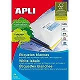 Apli 01285, 1 caja de etiquetas autoadhesivas multiusos, 44 etiquetas por hoja A4, 48,5 x 25,4 mm, blanco, 100 hojas