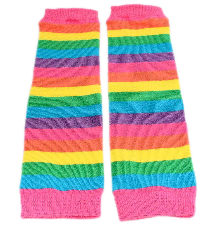 Calentadores de piernas para bebé, diseño de rayas, color rojo y rosa, para niños de 3 meses hasta 8 años 1