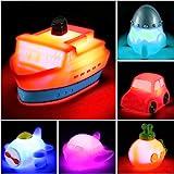 Juguetes para el Baño con Luz Intermitente que Cambia de Color en el Agua - Set de 6 Juguetes Luminosos Flotantes de Goma par