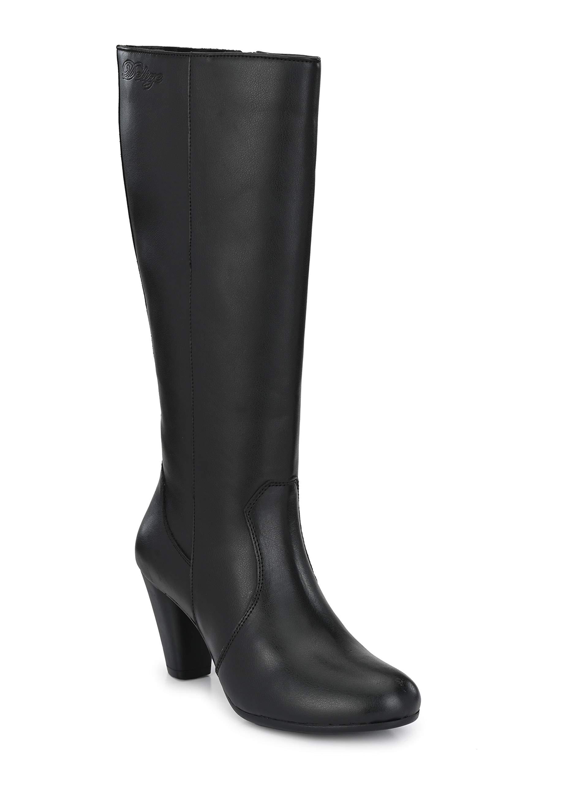 Delize Black Genuine Leather Knee Boots