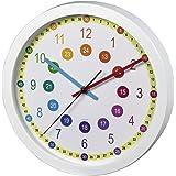 Hama Easy Learning Väggklocka för Barn för Inlärning av Tiden, Vit, 34 x 31 x 4.5 cm