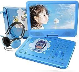 FUNAVO 10.5'' Tragbarer DVD-Player, Schwenkbaren Bildschirm, 5 Stunden Akku, Unterstützt SD-Karte und USB, mit Kopfhörer, Tragetasche, Auto-Ladegerät (Blau)