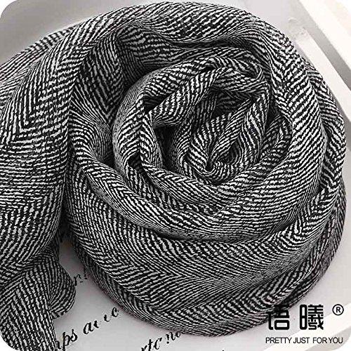 YRXDD Schwarze und Weiße Herringbone 100% Kräuter Lange Seide Schals Schal Masken im Frühjahr und Herbst, Frau Wilde, Lange 200 cm Auszug -