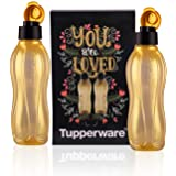 Tupperware Plastic Water Bottle, 750ml, Set of 2, Golden.