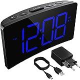 Holife Sveglia Digitale, Sveglia da Comodino LED con Adattatore, 3 Suoni Naturali/Grande Schermo/Funzione di Snooze/Luminosit