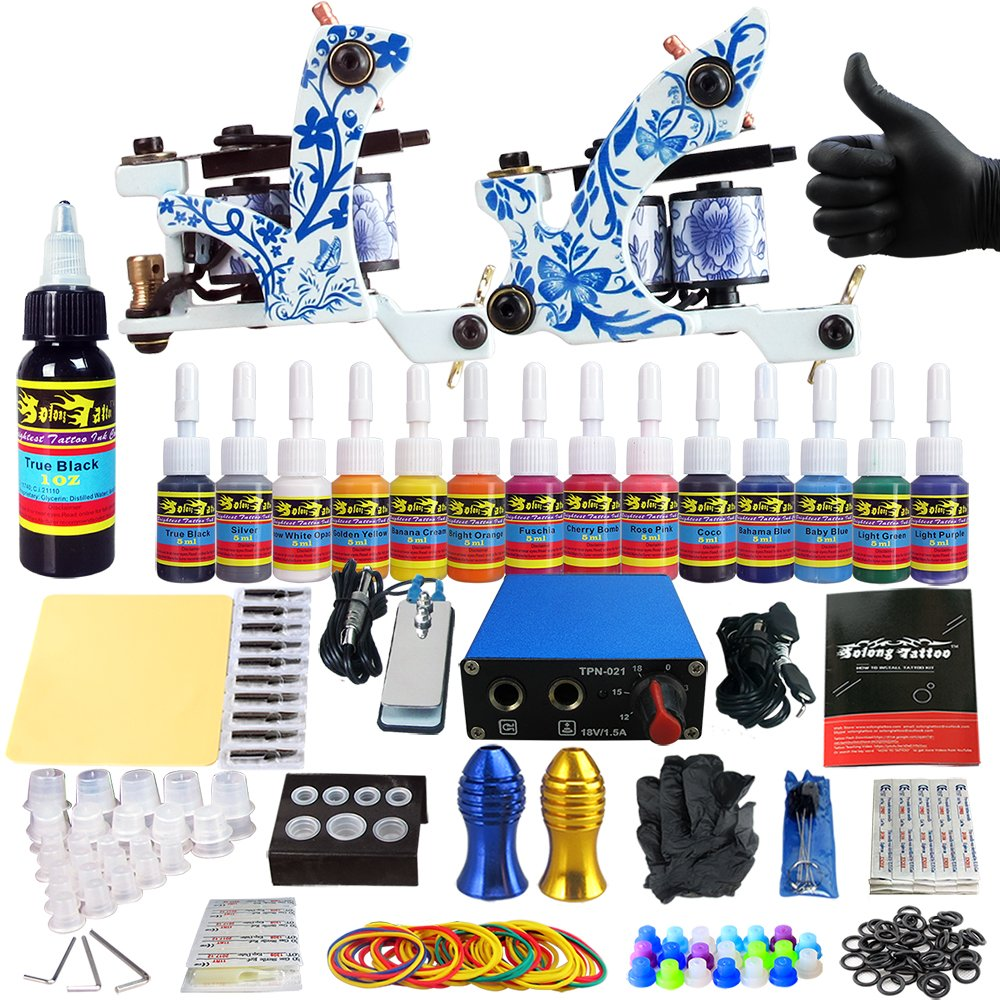 Solong tattoo complete tattoo kit for beginner starter 2 for Best tattoo starter kit