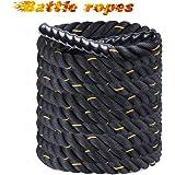 Display4top Battle Rope, zwart fitnesstouw voor krachttraining, spring- en klimoefeningen, touwtrekken, dikte 38 mm, lengte 9
